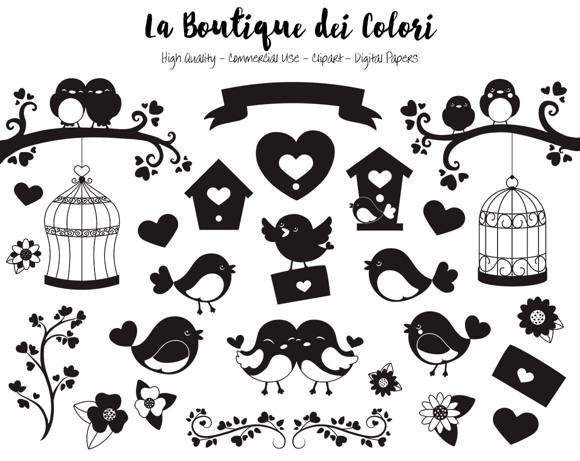 Valentines Day Birds Silhouette Clipart Cute Digital