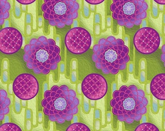 Zinnia Purple Green Jason Yenter Pastiche In the Beginning Fabric