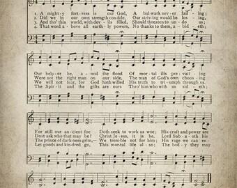A Mighty Fortress is Our God Hymn Print - Sheet Music Art - Hymn Art - Hymnal Sheet - Home Decor - Music Sheet - Print - #HYMN-P-016