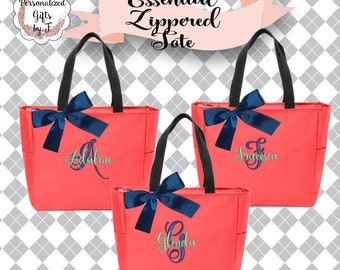 2 Personalized Bridesmaid Tote Bags, Wedding Gift, Coral Zippered Tote, Bridesmaid Tote, Bridesmaid Bag, Maid of Honor Gift, Bridal Bag