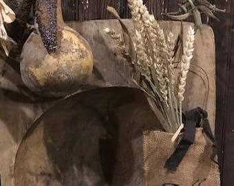 Primitive Grubby FALL Dried Wheat Burlap Bag Peg Hanger Make Do