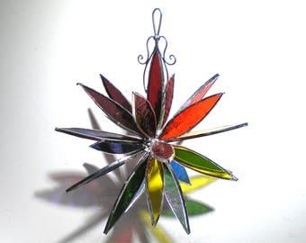 Regenbogen Burst - 3D Glasmalerei Blume Burst - großen bunten Haus Garten Dahlie Dekoration Homosexuell Pride hängen Suncatcher (sofort lieferbar)