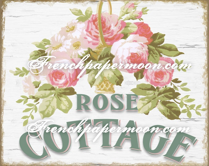 Rose Cottage Digital Printable, Shabby Chic Roses, Romantic Rose Pillow Transfer Graphic, Instant Download, Large Image