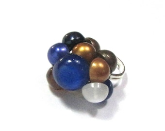 Ring Navy Blue, Brown, white, with shank buttons