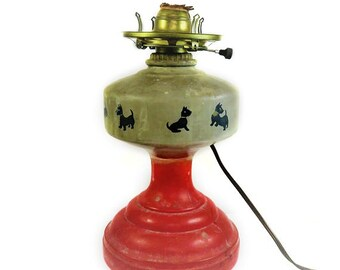 Antique Scottish terrier scotty scottie dog hurricane oil lamp tabletop light red white black dog mama queen anne country chic rustic gift