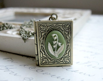 Lily of the valley, book locket, womens gift, flower cameo, nature jewelry, vintage style