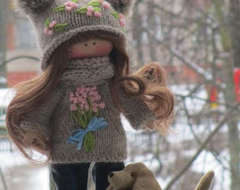 Art Doll Tilda Textile Rag Doll Soft Stuffed Toy Collectable Doll Keepsake Plushies Small Cuddle Cloth Doll Nursery Decor Baby Handmade