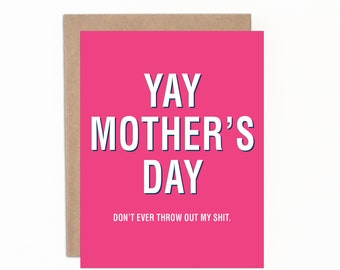 Funny Mother's Day Card, Mom Card, Card from Daughter, Card from Son, Card for Mom, Happy Mother's Day, Card for Mum, Card for Mom