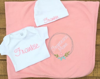 Embroidered baby etsy embroidered baby blanket personalized baby blanket baby gifts personalized baby girl clothes negle Choice Image