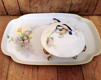 Handpainted Nippon China dresser set made in Japan, vintage china