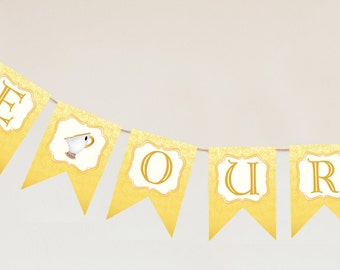 Be Our Guest Banner - Beauty and the Beast Party *Instant Download*