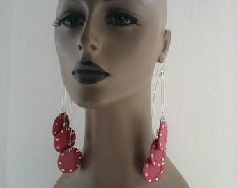 Unique Burgundy Red and White Casino Chip Earrings, Embellished, Long Earrings, Plastic Earrings, Large Earrings, Womens Earrings