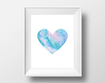 SALE -  Blue Pink Watercolor Heart, Shape Poster, Baby Girl Nursery, Blue Pink Ombre, Handpainted Abstract Art, Bubblegum Pink, Decor