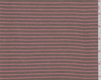 Olive Brown/Rose Stripe Mini Thermal Knit, Fabric By The Yard
