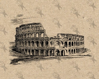 Vintage Coliseum Colosseum Italy Instant Download Digital printable clipart graphic Burlap Transfer Iron On Pillows Tote Tea Towels HQ300dpi