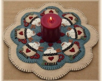 Santa's Cocoa Snowman penny rug candle mat DIGITAL PATTERN