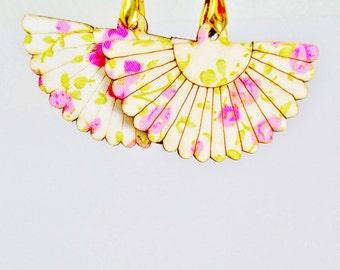 "Vintage Rose Quartz Flower Fan Dangle Earrings Green Victorian Garden Party Bridal 3"" Long Art Nouveau Graduation Prom Runway Statement"