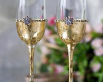 Personalized Wedding Glasses, Gold Wedding Champagne Flutes, 50th Wedding Anniversary Gift, Gatsby Toasting Glasses,  2 pcs  /G1/7/13-0001