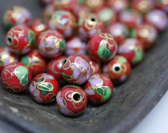 Chinese Cloisonne Beads 8mm Red Cloisonne Bead Enamel Beads Metal Beads (6 beads) CL11
