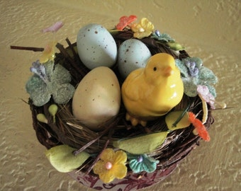 Handmade Nest with Chick and Eggs