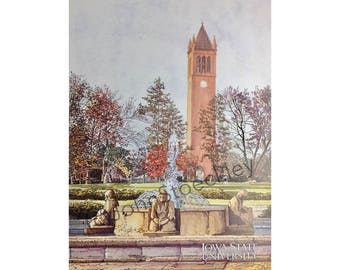 Iowa State University LIMITED EDITION Pen and Ink and Watercolor Art Print Illustration - Graduation Gift, Alumni