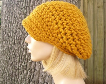 Crochet Hat Womens Hat Mustard Newsboy Hat - Crochet Newsboy Hat Mustard Yellow Crochet Hat - Yellow Hat Yellow Newsboy Womens Accessories