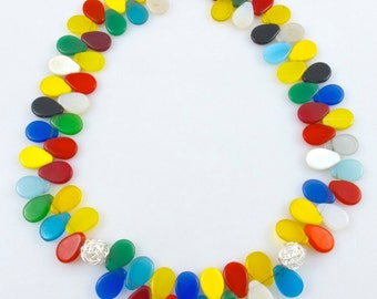 Statement Necklace - Glass Wedding Beads from Mali - Colorful