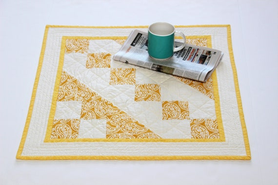 Yellow Square Quilted Table Topper