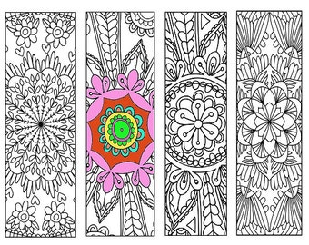 Bookmarks Coloring Printable, scaleable PDF file super quality, Instant Download. 51v.