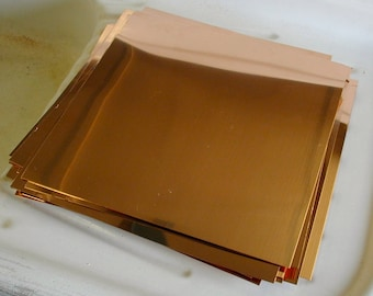 """10 Pieces of 12"""" x 12"""" solid copper sheet metal 16 ounce 22 gauge 99.9% pure"""