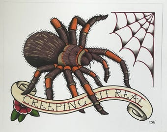 Original Art Creeping it Real Mexican Red Knee, Traditional Tattoo Flash Style, Tarantula Drawing Artwork, Hand Drawn Prismacolor Markers