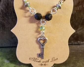 Handmade Heart Skeleton Key Linked Necklace