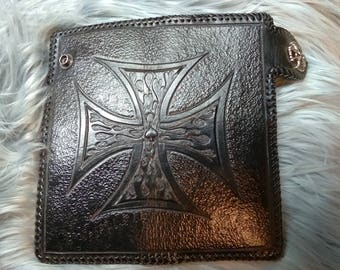 Hand tooled leather biker style wallet