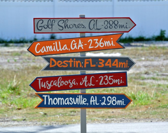 Gift for Husband Directional Arrow Wood Garden Decor, Destination Location Mileage Rustic Sign, Unique gift idea