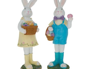 "12"" Mother & Father Bunny with Easter Egg Figurines"
