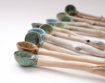 Handmade Ceramic / Pottery & Driftwood Spoons - Nature Inspired Home Decor/wabi sabi  Handmade in Canada !