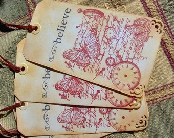 Believe Vintage Themed Gift Tags - Set of 4 Large Tags