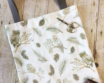 Tote Bag Owl and Pine  Winter Woodland Watercolor Illustration Pattern Handmade Fabric Shopping Bag