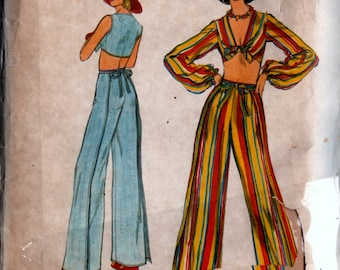 Vintage Vogue 9512 Sewing Pattern Womens Midriff Length Top & Front or Backed Wrapped Pants Sz. 8 Uncut