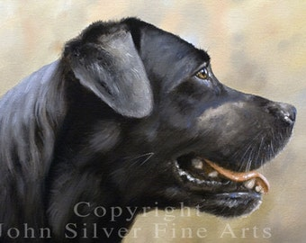 Aceo Dog Print, Black Labrador Retriever. From an Original Painting by JOHN SILVER. Personally signed. BL004AC