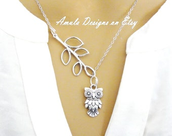 Antique Silver Lariat Style Owl and Leaf Branch Necklace