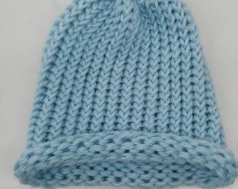 Hand Knitted Toddler Hat with Pom Pom