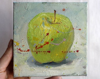 Set of 3 art Original oil painting Apple red yellow Abstract fruit art Miniature painting Set oil painting Mini oil painting Wall art set