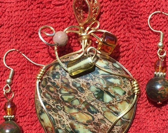 Sea Sediment Jasper wire wrapped pendant