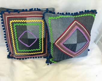 Upcycled denim embellished cushions.