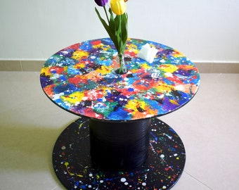 Artist Palette- recycled cable drum, spool, reel, coffee side table with built-in coca cola vase and tissue box holder, splatter paint