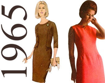 1960s Dress Pattern Drop Waist Dress Straight Dress Three Quarter Sleeve SIMPLICITY 6225 bust 32 Designer Fashion 60s Dress Sleeveless Dress
