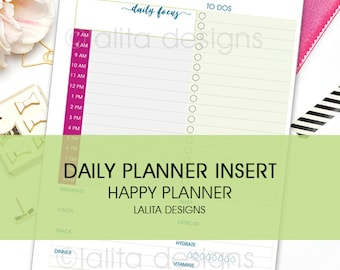 Daily Planner To Do List Printable Insert with Meal Planning for use with Happy Planner and Erin Condren LIFEPLANNER™