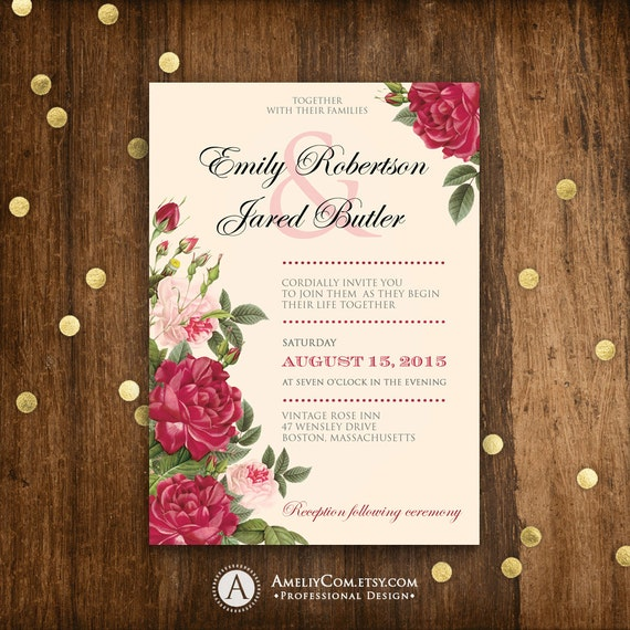 a wedding invitation printable wedding invitation burgundy and blush pink roses 1203