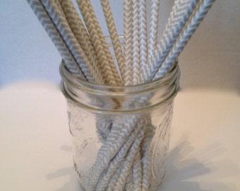 White and Silver Chevron Paper Straws